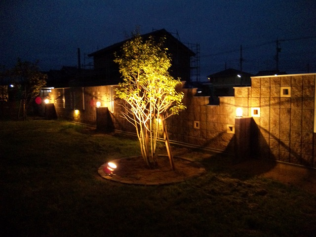 壁面上下に散りばめた光 Draw:Garden/㈱北陸園芸 石川県T様邸 Spectacular garden lighting by lighting professionals. Enjoy a dramatic, romantic, even mysterious scene comparing to a day time.