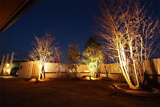 緑の空間と光 株式会社清光園 岡山県Y様邸 Spectacular garden lighting by lighting professionals. Enjoy a dramatic, romantic, even mysterious scene comparing to a day time.