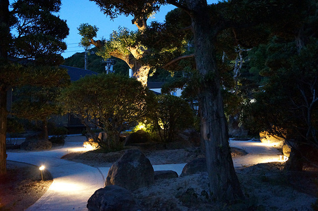 ト〇ロの森? 緑化工房 あうとてり家 さかい 愛媛県S様邸 Spectacular garden lighting by lighting professionals. Enjoy a dramatic, romantic, even mysterious scene comparing to a day time.