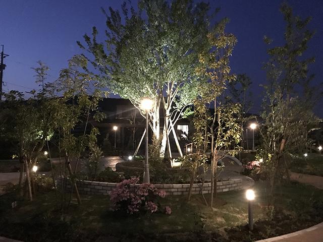 リハビリガーデン散策路ライティング 緑木midorigi 佐賀県 鹿島市S病院様 Spectacular garden lighting by lighting professionals. Enjoy a dramatic, romantic, even mysterious scene comparing to a day time.